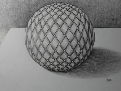 Como dibujar una esfera 3D, con textura de un tejido. Lápiz 6B y un difuminador