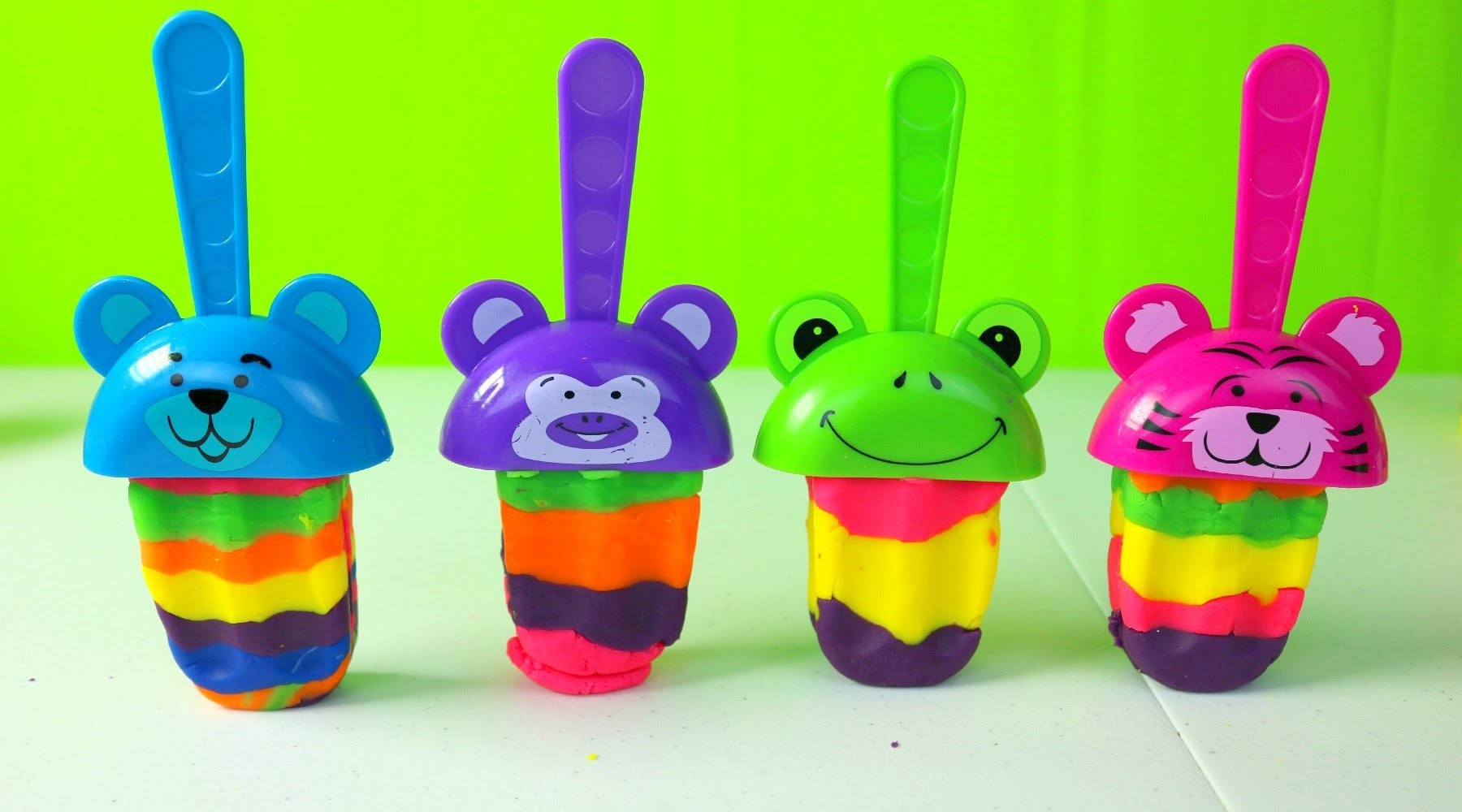 Paletas de Plastilina | Animal Play Doh Rainbow Popsicles| Play Doh en Español