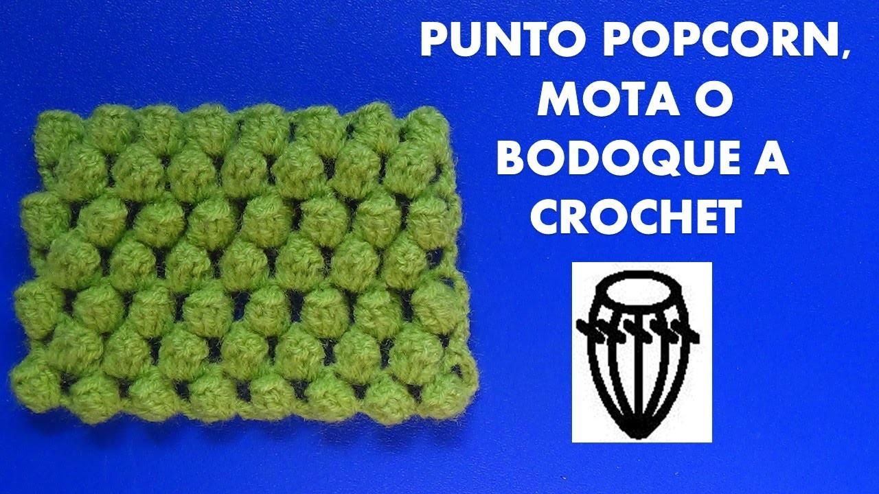 Como tejer el punto popcorn, mota o bodoque tejido a crochet