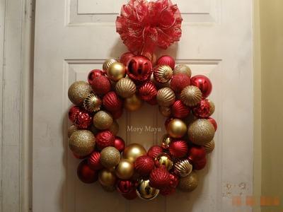 Corona navideña de esferas DIY, manualidades decoración navideña