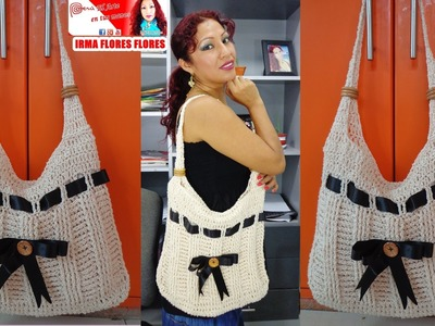 BOLSO GRANDE  COLOR ENTERO Y DECORADO CON CINTA TEJIDO A CROCHET