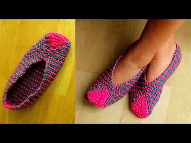 Cómo Tejer Pantuflas Orientales-Easy Slippers Knitting-2 Agujas (314)