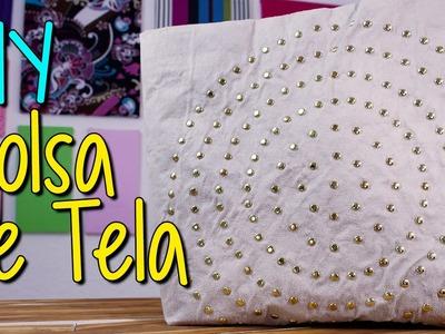 Bolsa de Tela Fácil -  Sin coser - Paso a Paso - Bolsa con Estoperoles decorada
