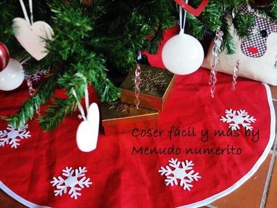 Cómo hacer un faldón, falda o pié de árbol Navidad. DIY Christmas tree skirt