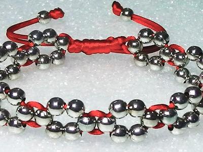 Como hacer una pulseras de hilo facil con cuentas o perlas formando flores faciles de hacer
