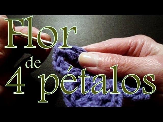 Cómo tejer una flor de cuatro pétalos con vareta triple (four petals flower) -tejido para zurdos-