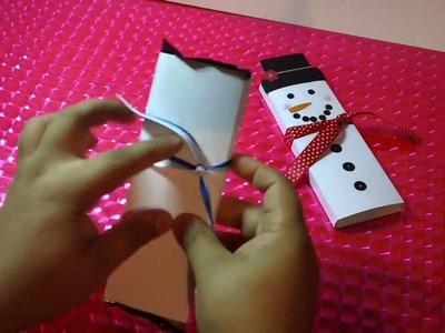 MUÑECO DE NIEVE CON CHOCOLATE regalo navideño original y económico