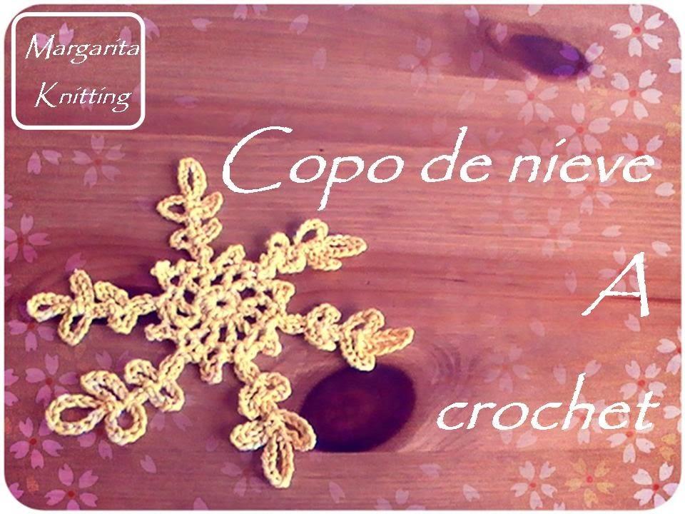 Navidad: copo de nieve a crochet (zurdo)