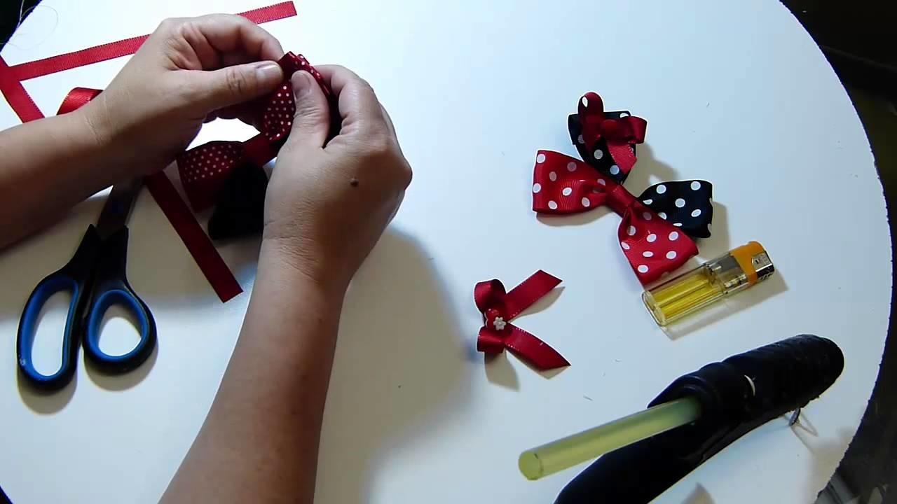 Tutorial moños sencillos en cinta para el cabello. easy ribbons tutorial