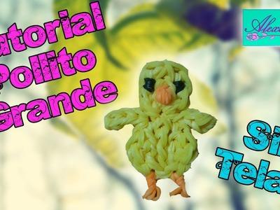 ♥ Tutorial: Pollito Grande de gomitas (sin telar) ♥