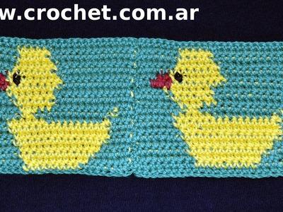 Unión del Motivo N° 12 en tejido crochet paso a paso.
