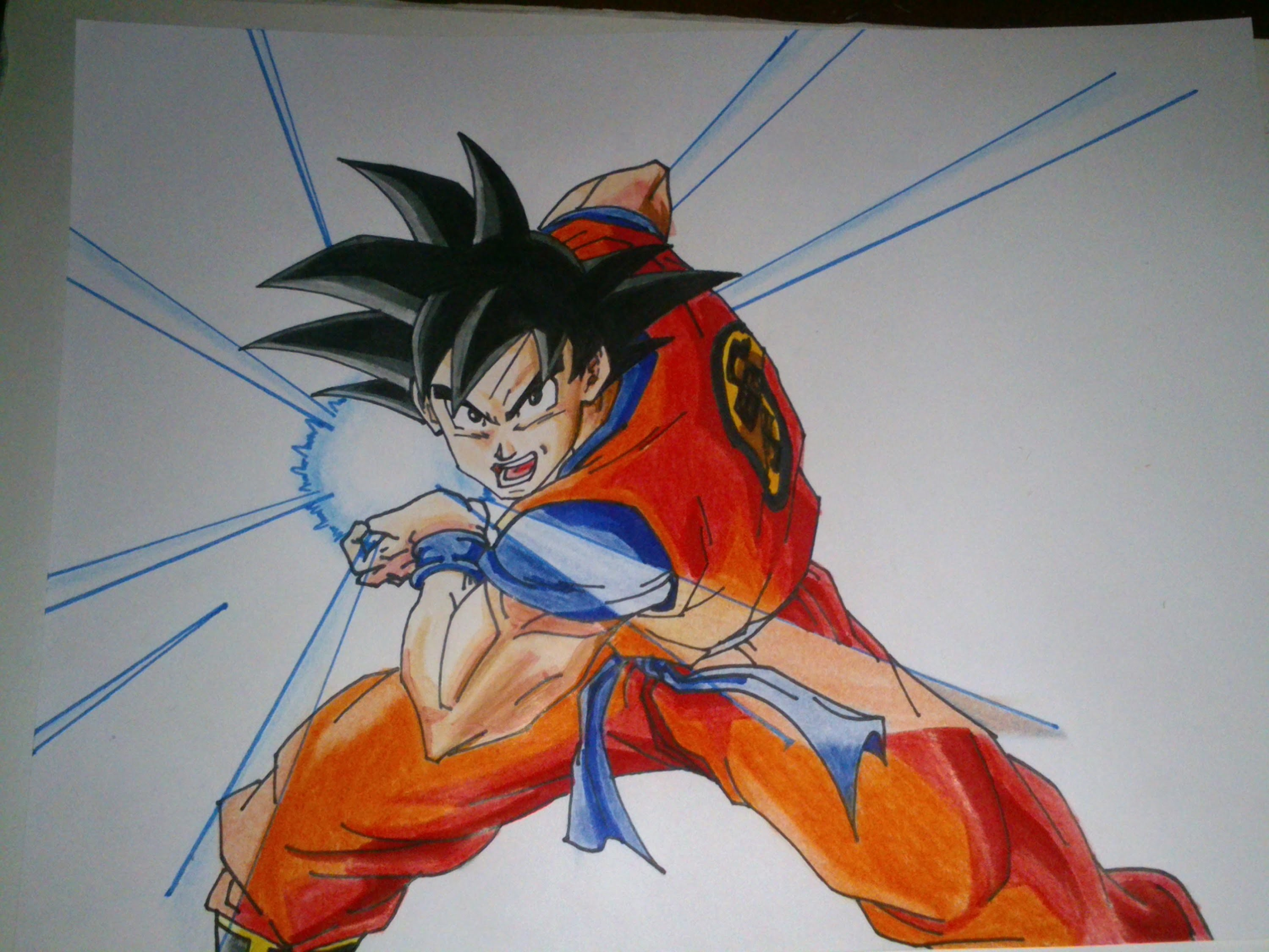 Dibujando a GOKU kame hame ha, drawing goku kame hame ha, how to draw goku kame hame ha