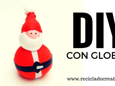 Papá Noel hecho con globos y sal - Manualidad para Navidad con niños DIY - Santa with balloons