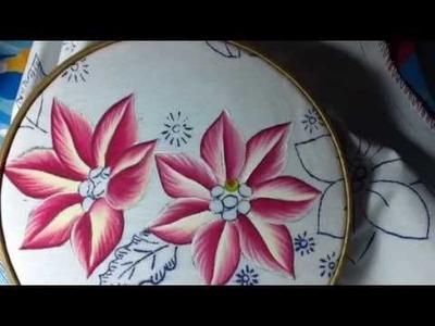 Pintura en tela nochebuenas rosa # 1 con cony