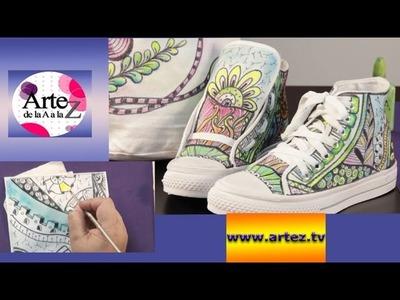 Cómo decorar zapatillas con técnica zentangle