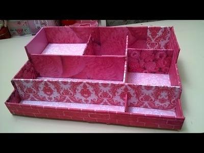 Como Hacer caja ORGANIZADOR  utiles escolares, maquillaje, accesorios