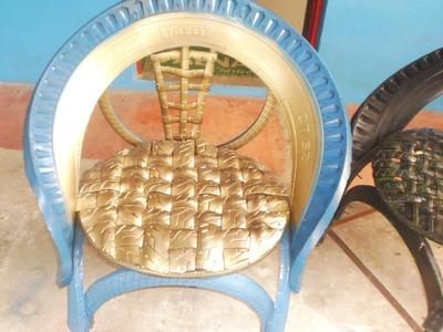 Como hacer sillas con llantas recicladas, procedimiento paso a paso