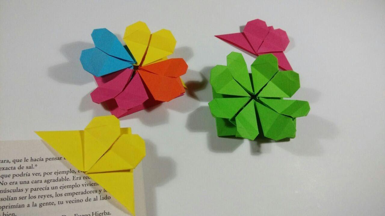 Como hacer un corazon punto de libro - Origami