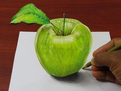 Dibujo Manzana Realista en 3D   Dibujo Anamorfico