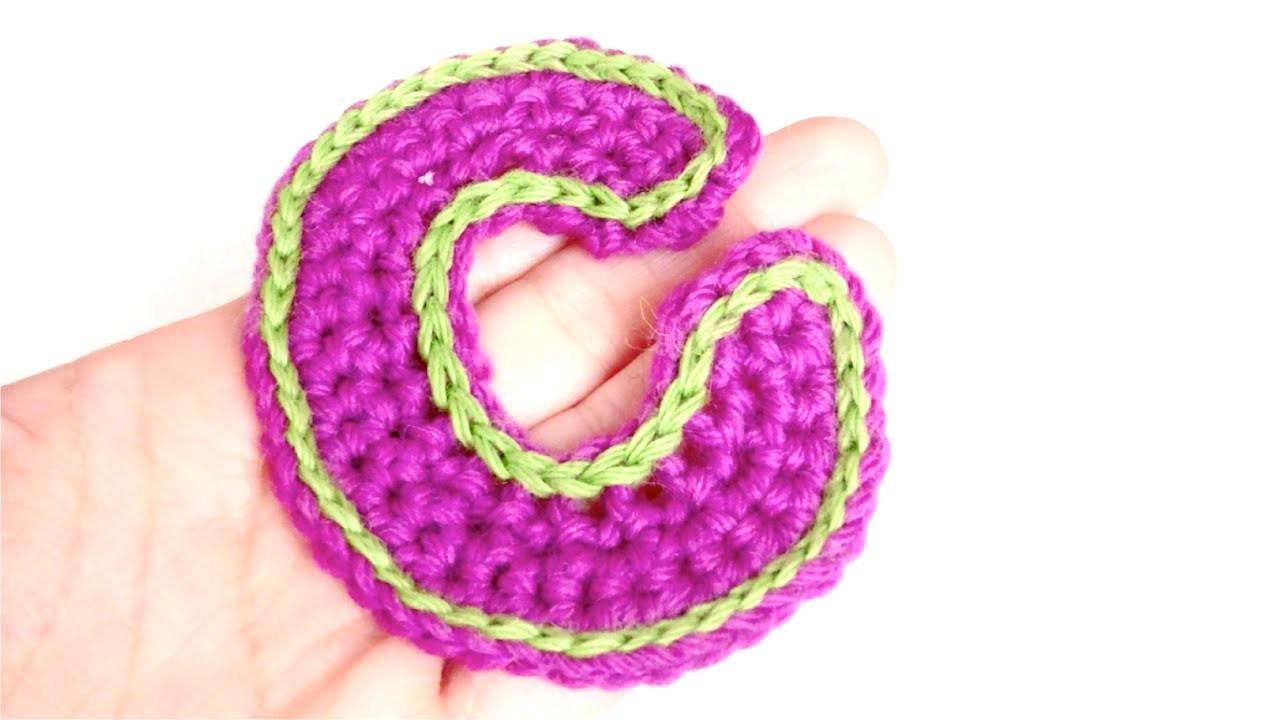 "Letra ""C"" a crochet | How to crochet letter C"