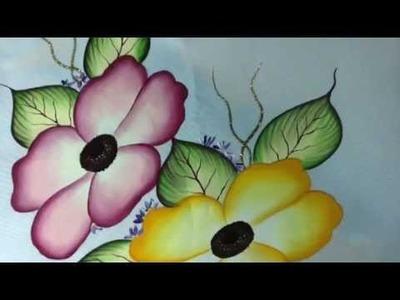 Pintura en tela camino de flores # 3 con cony