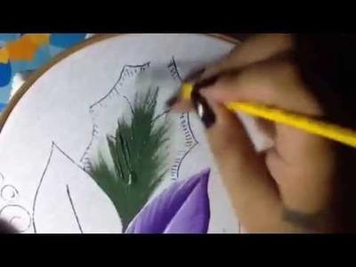Pintura en tela nochebuena violeta # 1 con cony