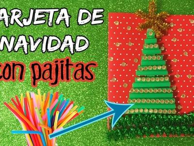 TARJETA navideña con pajitas * MANUALIDADES navideñas para niños