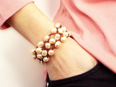 Trenza de cuero y perlas