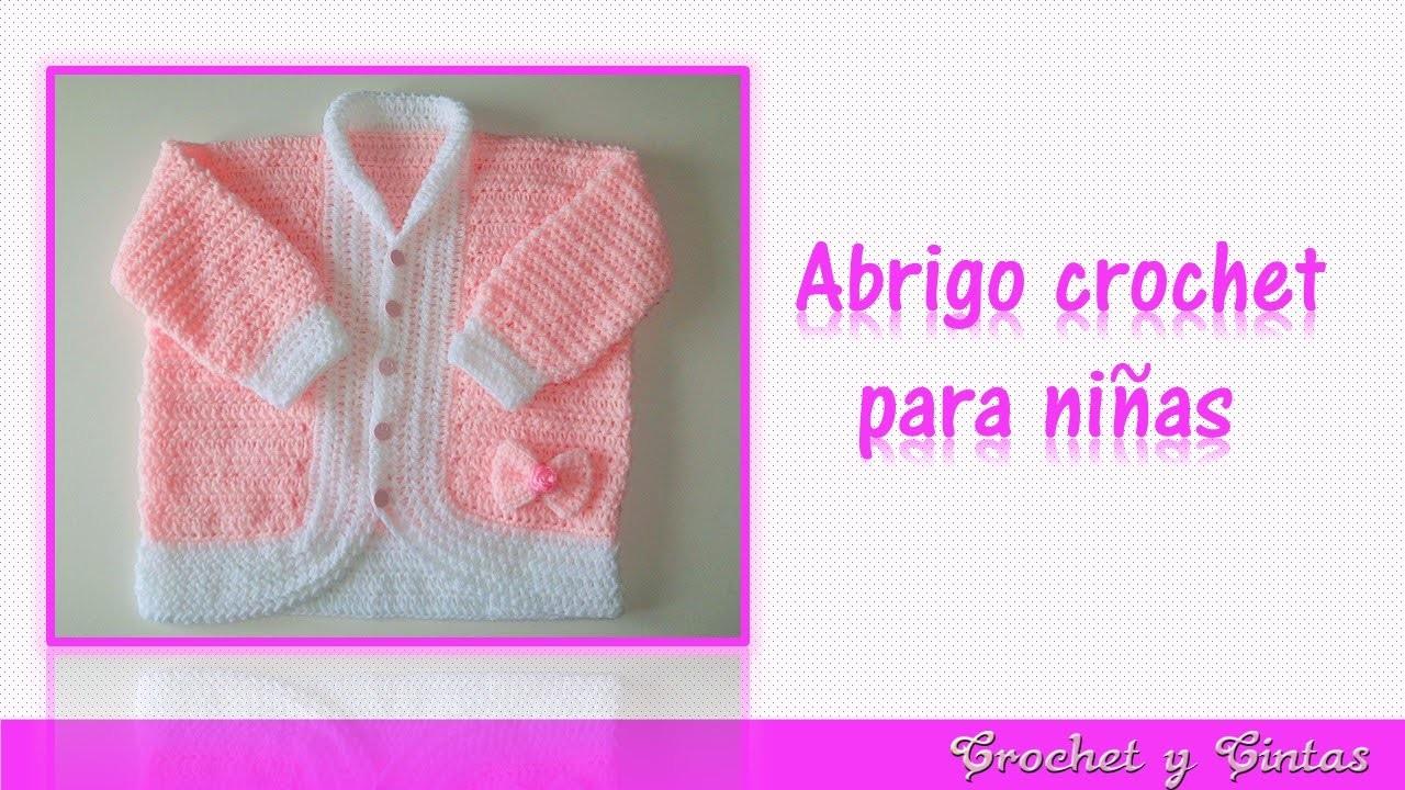 Abrigo - chaqueta con lazo tejido a crochet (ganchillo) para niñas  – Parte 1