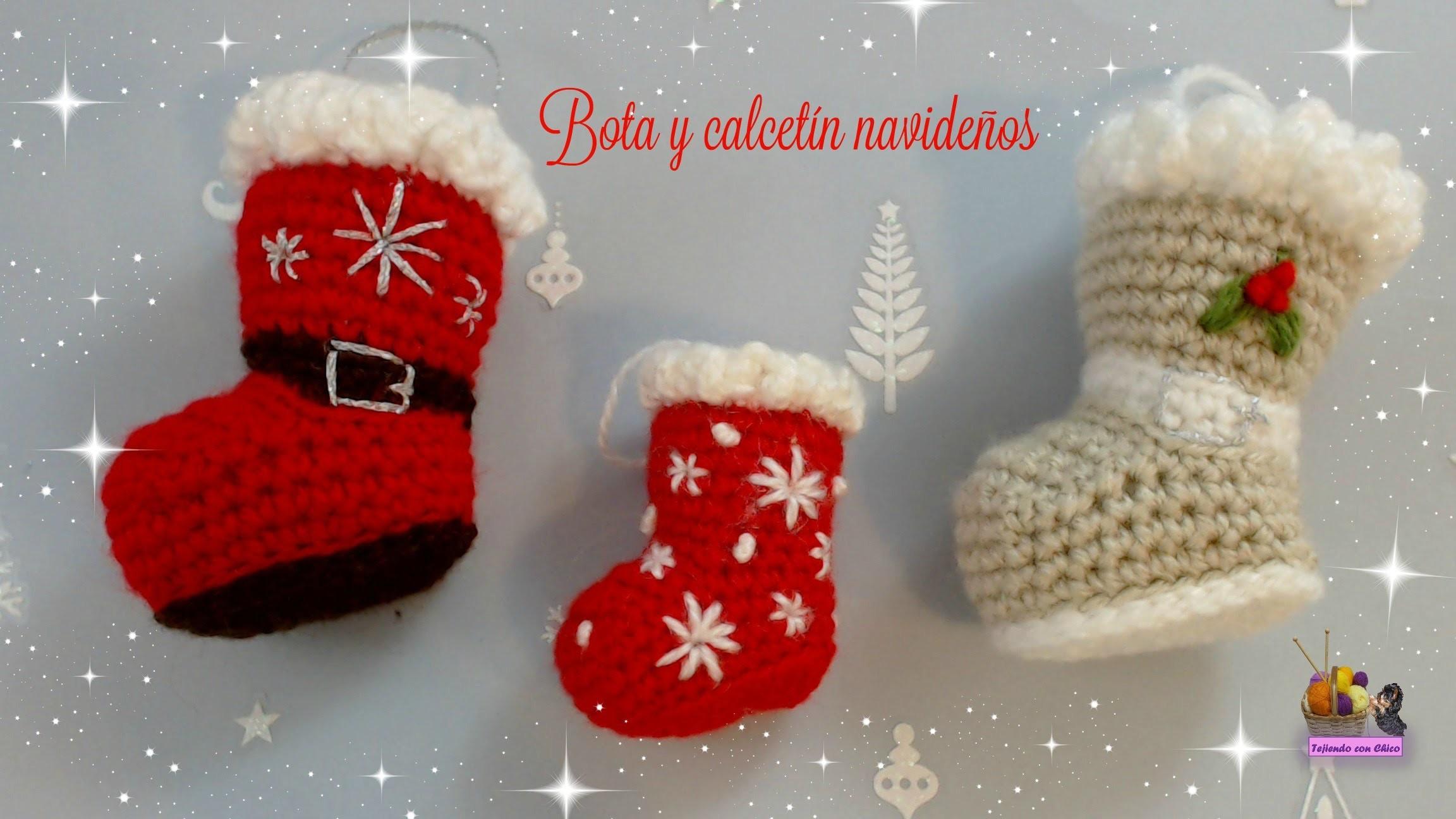 Bota o calcetín de crochet para adornar en Navidad (amigurumi)