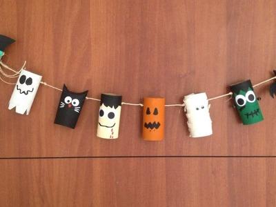 Especial de halloween: banner con rollos.tubos de papel reciclados para decorar la puerta DIY
