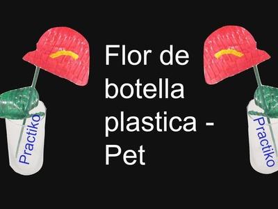 FLOR ANTURIO HECHA CON BOTELLA DE PLASTICO – MATERIAL RECICLADO