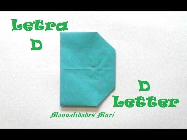 Origami - Papiroflexia. Abecedario muy fácil. Letra D