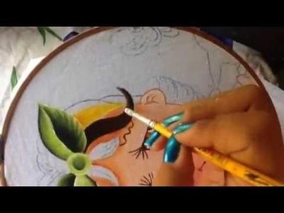 Pintura en tela niña mango # 2 con cony