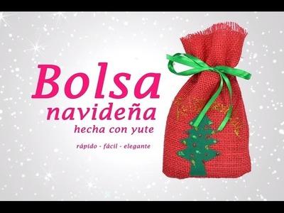 BOLSA DE YUTE CON APLIQUES NAVIDEÑOS » Manualidades de Navidad