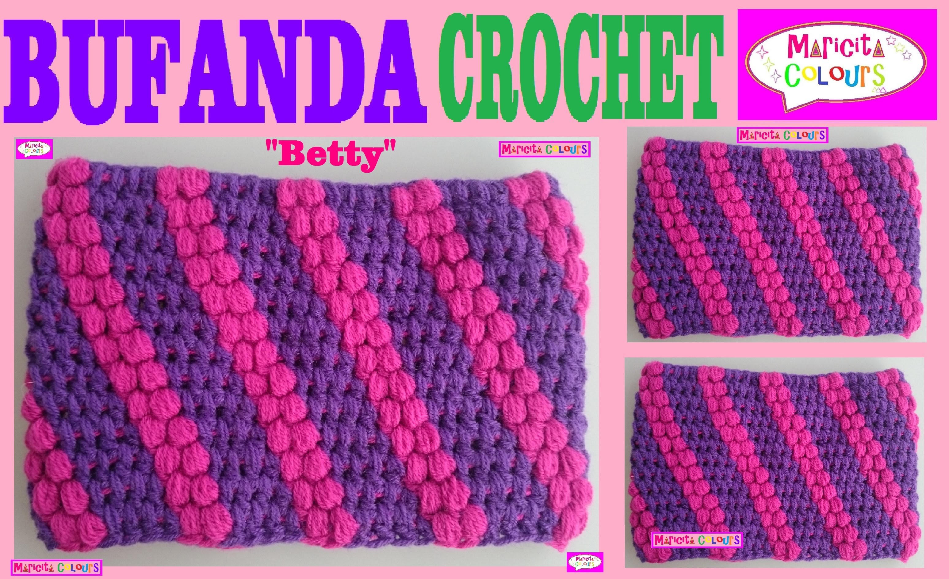 """Bufanda cuello Tutorial Crochet Punto Puff """"Betty"""" por Maricita Colours"""