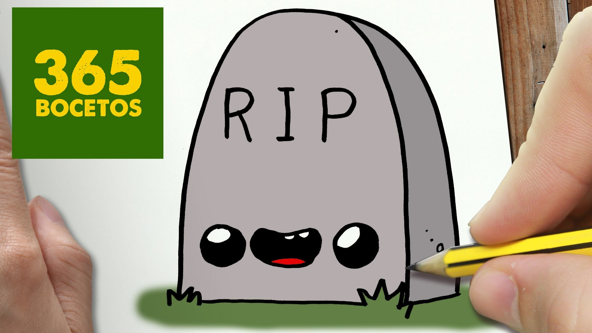 COMO DIBUJAR LAPIDA KAWAII PASO A PASO - Dibujos kawaii faciles - How to draw a headstone