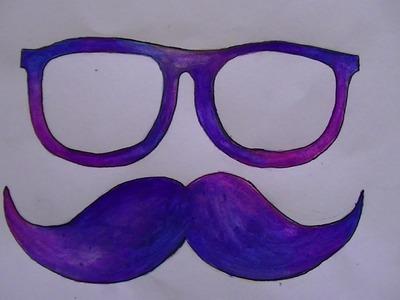 Como dibujar.pintar gafas y mostacho