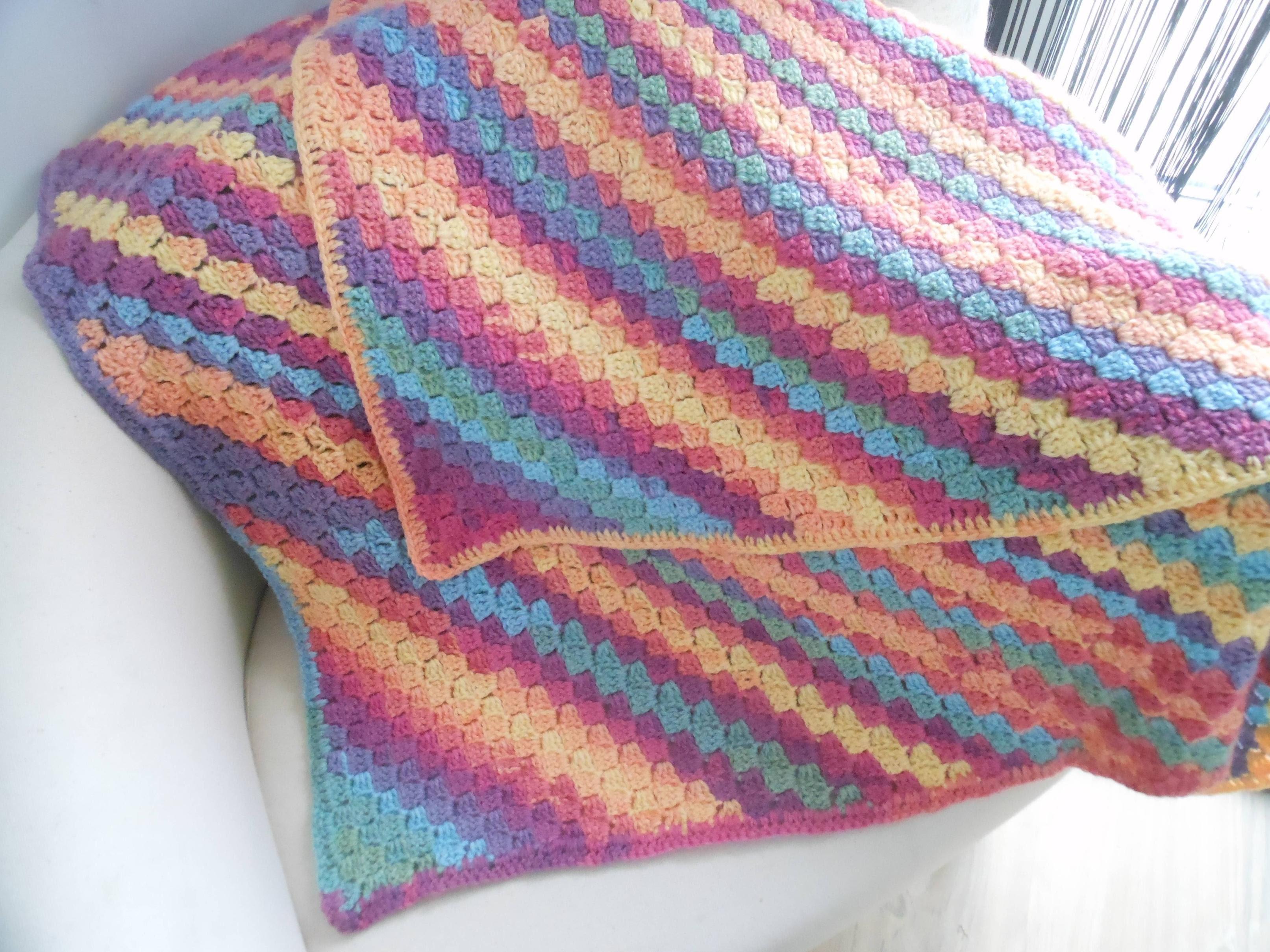 Manta Crochet punto mosaico paso a paso