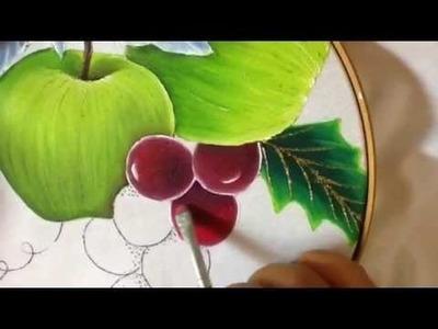 Pintura en tela uvas de nochebuena azul # 5 con cony