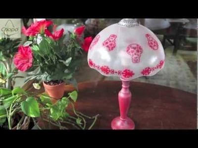 Reciclar una lámpara con pintura para cristal DIY