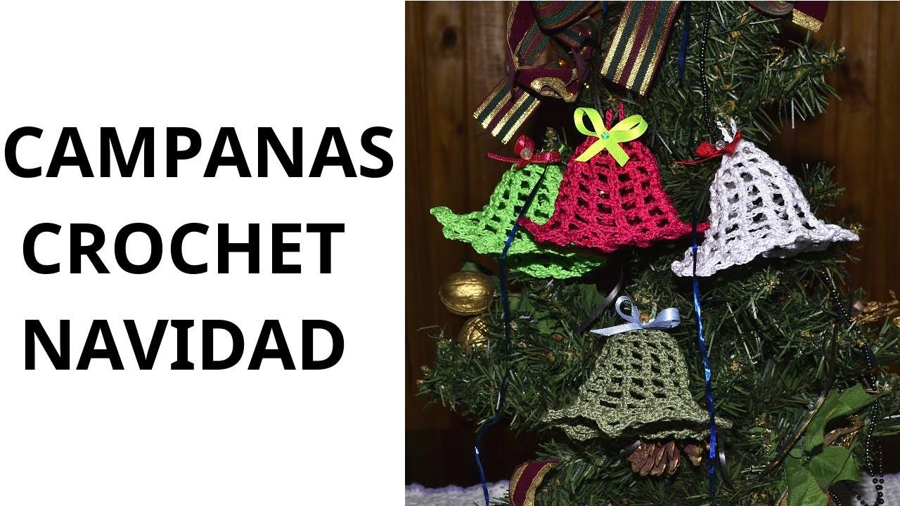 Campanas Navidad en tejido crochet tutorial paso a paso.