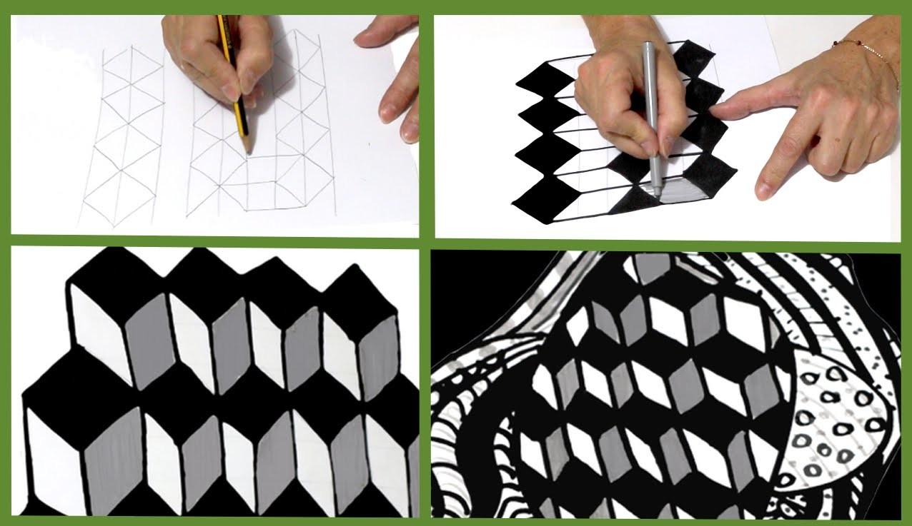 Cómo dibujar cubos para Zentangle o doodle art