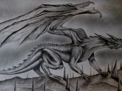 Cómo dibujar un dragón realista a lápiz paso a paso, dibujando dragones