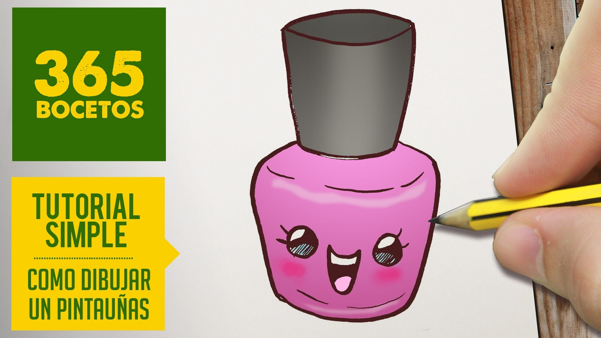 COMO DIBUJAR UN PINTAUÑAS KAWAII PASO A PASO - Dibujos kawaii faciles - How to draw a nail polish