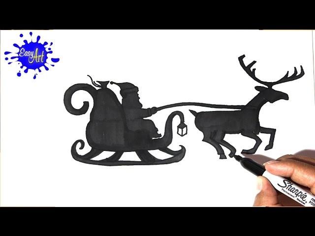 Como dibujar un trineo navidad,how to draw a sleigh christmas