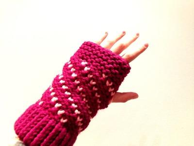 Cómo tejer con telar unos mitones bicolor en espiral de corazones (Tutorial DIY)