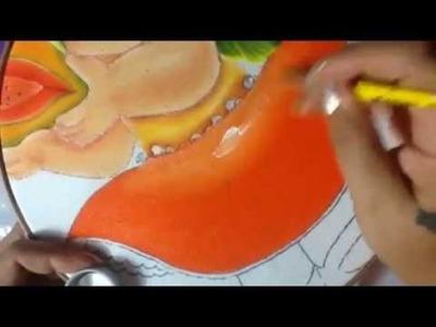 Pintura en tela niña papaya # 4 con cony