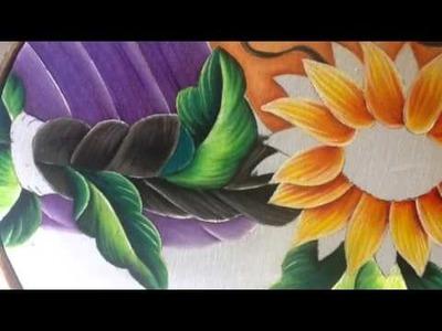 Pintura en tela rostro girasoles # 5 con cony