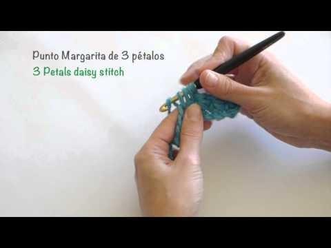 Punto Margarita de 3 pétalos de crochet. 3 Petals daisy stitch